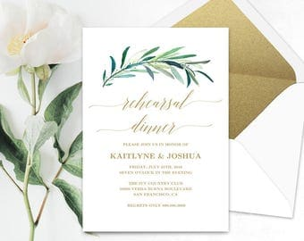 Printable Wedding Rehearsal Dinner Invitation Card Template, Eucalyptus Greenery Rehearsal Dinner Card, 5x7 inches, Eucalyptus Gold