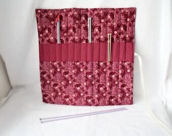 knitting organizer, knitting needle roll, knitting needle holder, needle storage,  burgundy floral cotton fabric