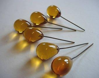Set 6 large drops core color Topaz yellow glass