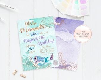 Mermaid Birthday Party Invitation, Mermaid Invitations, Birthday Party Invitations, Girl Birthday Party Invite, Mermaid Birthday Party [567]
