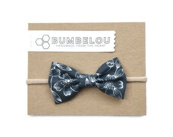 Classic Fabric Bow - Blockprint Floral in Lead - Headband or Clip