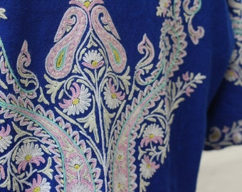 1940's Blue Embroidered Floral Dress