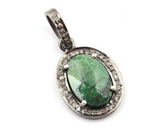 Fathers Day 1 Pc Natural Pave Diamond Mohave Green Turquoise 925 Sterling silver Oval Shape Oxidized Pendant 24mmx16mm PD922