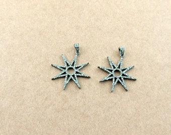 Mega sale 1 Piece Pave diamond Star 925 Sterling Silver Charm Pendant 30mmx27mm PD560