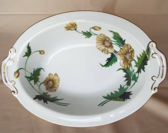 Hira Golden Poppy Oval Serving Dish with Floral Design and Gold Trim 10 1/4""