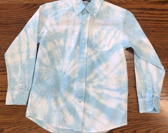 Hand tie dyed// boys//long sleeve//button down//cotton//festival wear