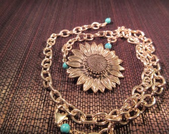 Cool Retro Sterling Silver  Turquoise Sunflower Necklace