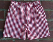 Porch Pickup - Shorts gingham 1/4 Red Lined - Thank you