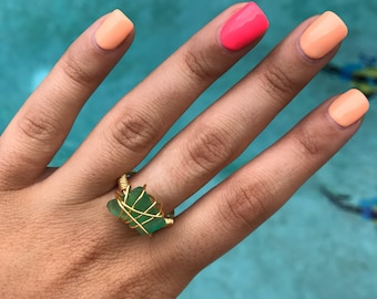 Sea Glass Wire Wrap Ring