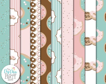 Donuts Digital Scrapbooking Paper Pack in Pink & Green, Buy 2 Get 1 FREE. Instant Download