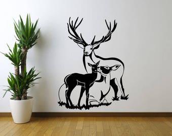 Deer Family, Wall Sticker, Interior Sticker,  Window Sticker, Car Sticker, Wall Decal, Wall Decor, Animals