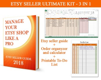 Etsy Seller ultimate kit - 3 in 1, 2018, SEO, Marketing, Instructions, Guide, Order Organizer, To-do list, Etsy Seller Tool