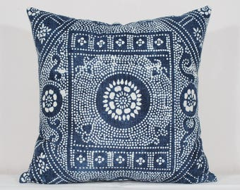 Vintage Indigo Batik Pillows, Old Chinese HMONG Batik Fabric Pillow Case, Ethnic Costume Textile Cushion Cover