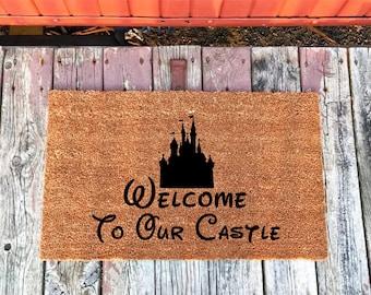 2 Sizes - Welcome To Our Castle - Disney - Coir Door Mat - Doormat - 18 x 30 and 24 x 31.5 - Housewarming Gift
