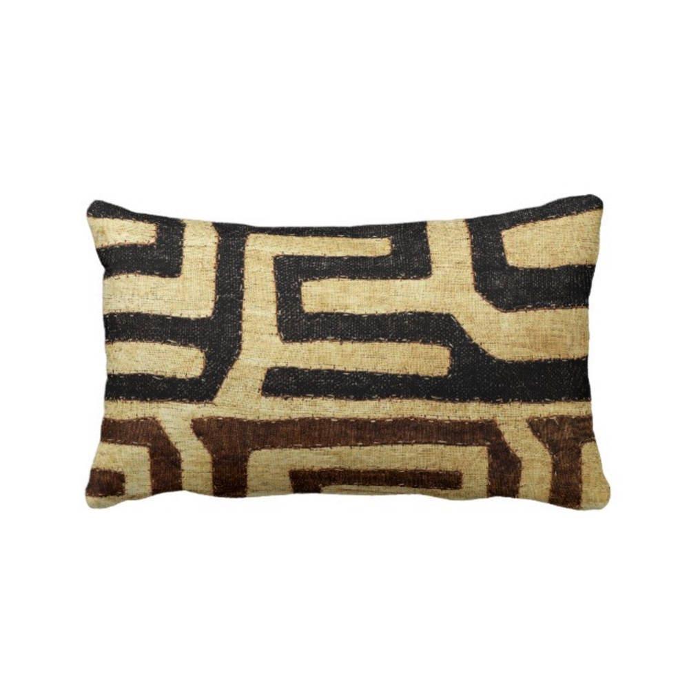 Black Tribal Throw Pillow : Kuba Cloth Printed Throw Pillow, Beige & Black 13 x 21 ...