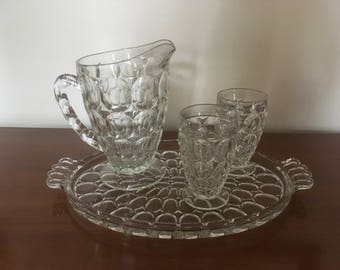 Vintage 10-Piece Jeannette Glass Company Thumbprint Clear Glass Juice Set, Pitcher with 8 Glasses and Tray #1107