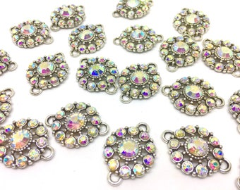 Aurora Borealis Crystal Rhinestone Glass Pendants, Flower Charm 2 holes, bracelet or necklace charm, connector bead, crystal bead, rainbow