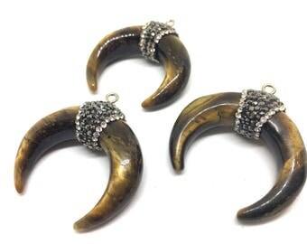 Tigers Eye Crescent Shape Pendant, agate silver Horn Pendant, Rhinestone pendant necklace, long necklace, brown necklace, horn pendant jewel