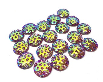 12mm Druzy Cabochons, RED - BLUE polka dots, jewelry making kit, earring set, diy jewelry, druzy studs, 12mm Druzy, cabochon, stud earrings
