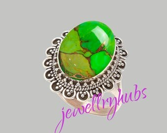 Green Turquoise Ring, Copper Turquoise Ring, Handmade Ring, Turquoise Stone Ring,925 Sterling Silver, Silver Ring, R22TRG