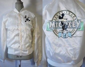 Vintage 80s Disney Bomber Jacket Mickey Mouse Bomber Jacket Grunge Button Up Exercise Jacket Hipster Cropped New Wave Jacket