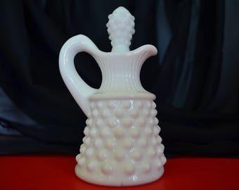 Vintage Hobnail Milk Glass Decanter