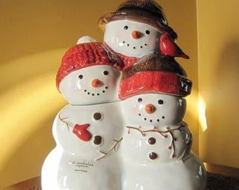 Cookie Jar & Lid, Warm Wishes, By St Nicholas Square, Figurine, Christmas Decor, Winter Decor, Home Decor, Stoneware