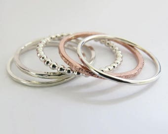 Summer sale 25% Off Stacking Rings Set of 5 - Set of Silver Rings & Copper Rings - Mixed Metal Rings