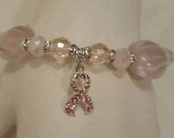 OOAK Pink Glass, Breast Cancer, Pink Ribbon Bracelet, Free shipping