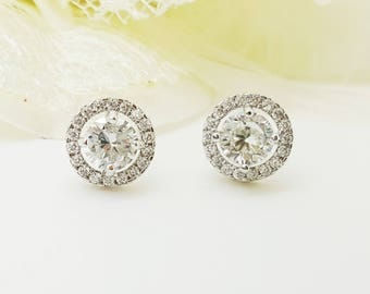 Cubic Zirconia 3 Colors Flat Halo Earrings, Bride Bridesmaid earrings gifts