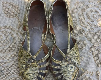 US 6 1/2 1940s lizard wedge sandals