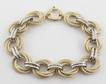 14k Yellow Gold women's Toggle bracelet, 14k Yellow And White Gold Rolo Braided Link Bracelet