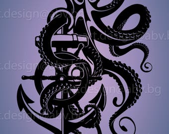 Vector OCTOPUS and anchor, devil-fish, AI, eps, pdf, svg, dxf, png, jpg Image Graphic Digital Download Artwork, graphical, discount coupons