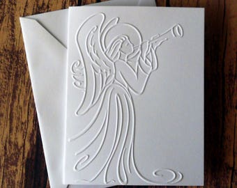Angel Christmas Cards, Set of 5, White Embossed Christmas Cards, Christian Christmas Cards, White Angel Greeting Card, Blank Christmas Cards