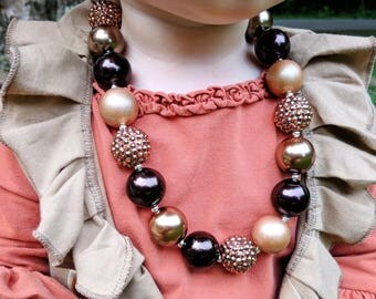 Brown Chunky Bubblegum Necklace, Fall Necklace, Girl Toddler Brown Necklace, Fall Baby Outfits, Sparkle Necklace, Chunky Necklace, Bracelet