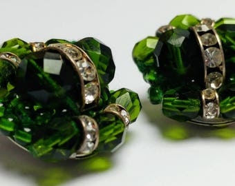 Vintage green facetted glass rhinestone earrings