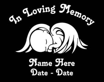 DIY In Loving Memory Vinyl Decals, Single Baby, Twin Babies, Name, Dates, Your Choice of Vinyl Colors, Picture Frame, Car Window, Wall Decal