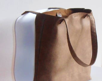 tough bag brown, Tote Bag Brown, shopping bag, work bag, magnetic closure, gift idea her, imitation leather