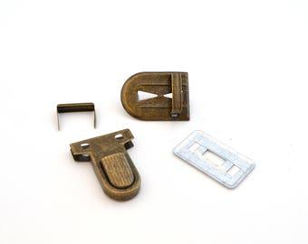 Bronze clasp Briefcase 3 X 2.5 cm