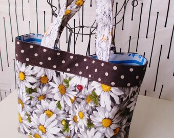 70's vintage fabric, daisy flower , Small tote bag, ladybug botton