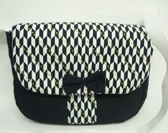 Shoulder bag black and white fantasy fabric