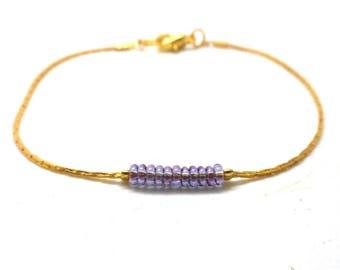 Bracelet minimalist fancy gold, half round purple charms and co.