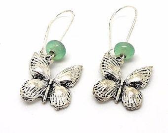 Dangle earrings Butterfly beads spun Green
