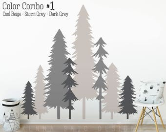 Large 3 Color Pine Tree Forest Wall Decals   Tree Wall Decals, Forest Mural,