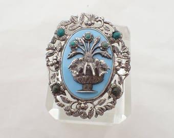 Vintage Mexico Sterling Brooch flower vase birds gem stones AC119
