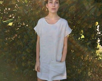 Natural Linen Dress - Linen Tee Dress - Linen Summer Dress - Cream Linen Dress - Loose Dress - Big Pocket Dress - Minimalist Dress - Womens