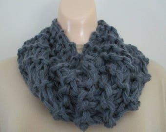 Gray Knit Cowl Scarf Loop Scarf Grey