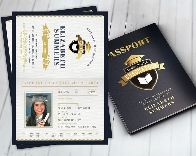Graduation Party Invitation, Bon Voyage, travel, passport, destination, invite, party, oh the places you will go, prom, Digital files only