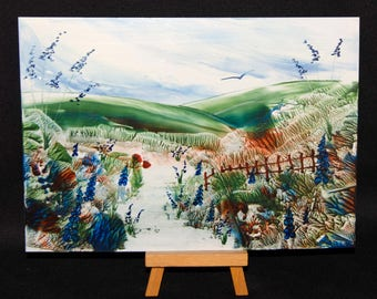 Encaustic Wax Art, Original A5 Picture, Peaceful Valley, Unique and Individual