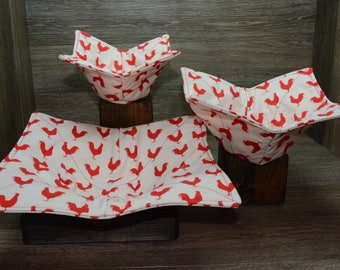 Microwave Bowl Cozies // Set of 3 // 1 Small Bowl // 1 Medium Bowl // 1 Dinner Plate // Red Rooster